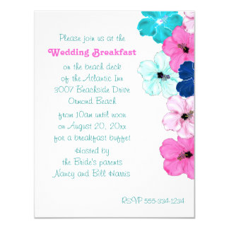 Hibiscus Art Wedding Breakfast Invitation