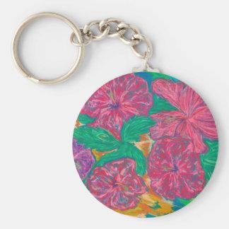 Hibiscus Basic Button Keychain