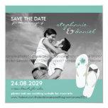 Hibiscus Beach Wedding Flip Flops Save The Date 13 Cm X 13 Cm Square Invitation Card