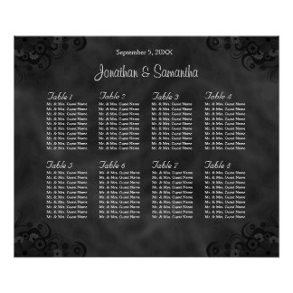 Hibiscus Black 8 Tables Wedding Seating Chart Poster