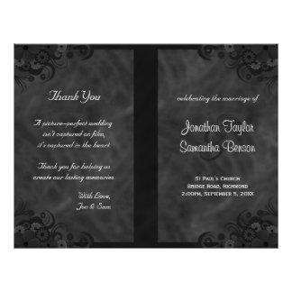 Hibiscus Black Floral Goth Folded Wedding Programs Flyer