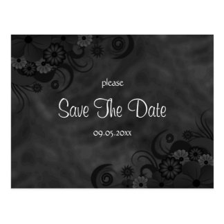 Hibiscus Black Floral Gothic Save The Date Cards Postcard