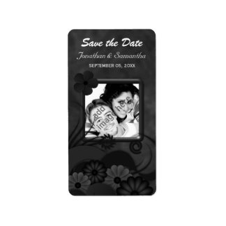 Hibiscus Black Floral Gothic Save The Date Labels Address Label