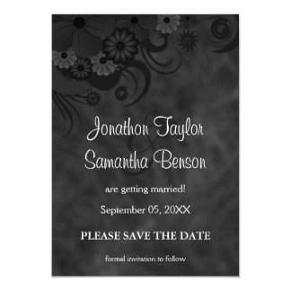 Hibiscus Black Floral Save The Date Announcements