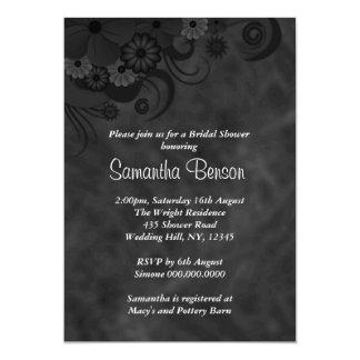 "Hibiscus Black Floral Wedding Bridal Shower Invite 5"" X 7"" Invitation Card"