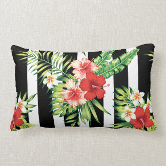 Hibiscus & Black & White Stripes Background Throw Cushion