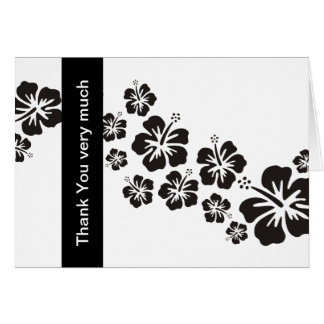 hibiscus blooms in black + Thank You very much Greeting Card