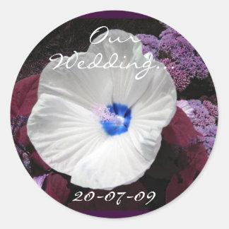 Hibiscus Blue Wedding- Customizable Sticker