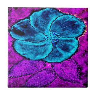 Hibiscus Blues Ceramic Tile