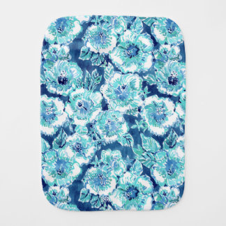 HIBISCUS BOUNTY Blue Tropical Hawaiian Floral Baby Burp Cloth