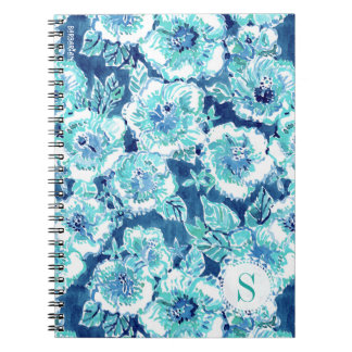 HIBISCUS BOUNTY Blue Tropical Hawaiian Floral Spiral Notebook