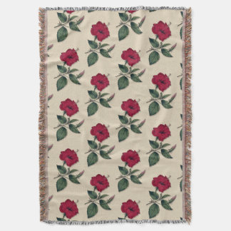 Hibiscus Dark Red Tropical Flower Botanical style Throw Blanket
