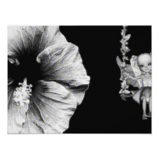 Hibiscus Fairy On Flower Swing B W Posters