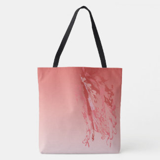 hibiscus flamingo feathers tote bag