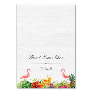 Hibiscus Floral Flamingo Wedding Place Escort Card