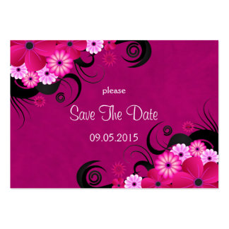 Hibiscus Floral Fuchsia Wedding Save The Date Card Pack Of Chubby Business Cards