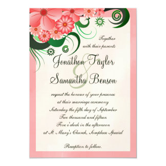 "Hibiscus Floral Pink 5"" x 7"" Wedding Invitation 5"" X 7"" Invitation Card"