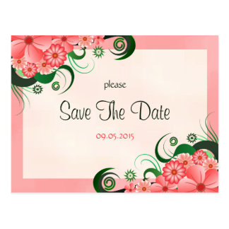 Hibiscus Floral Pink Custom Save The Date Card Postcard