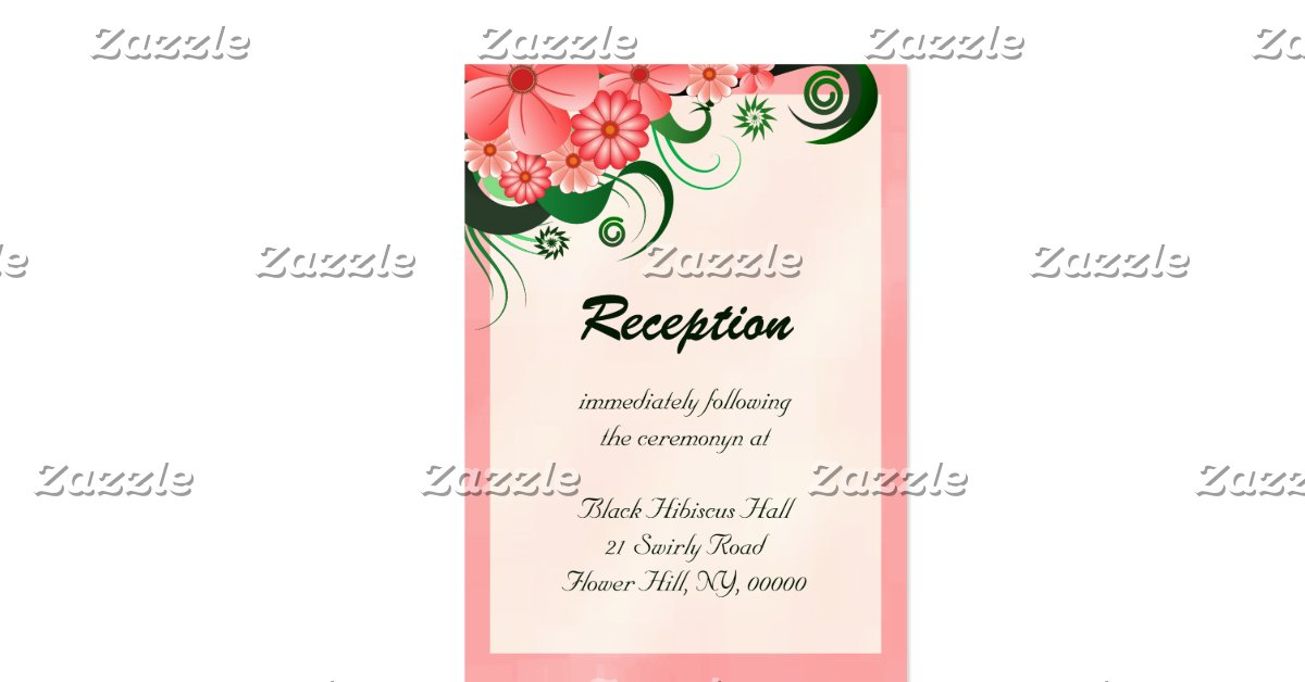 Hibiscus floral pink reception enclosure cards pack of