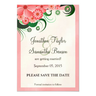 Hibiscus Floral Pink Save The Date Announcements