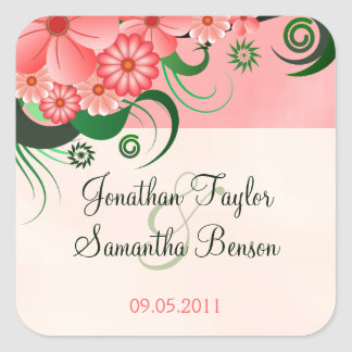 Hibiscus Floral Pink Save The Date Stickers