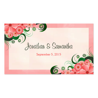 Hibiscus Floral Pink Wedding Favor Favour Tags Double-Sided Standard Business Cards (Pack Of 100)