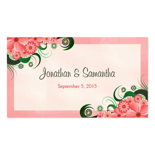Hibiscus Floral Pink Wedding Favor Favour Tags Business Card Templates