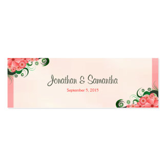Hibiscus Floral Pink Wedding Favour Favor Tags Pack Of Skinny Business Cards
