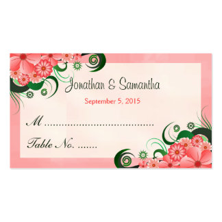 Hibiscus Floral Pink Wedding Table Place Cards Business Cards