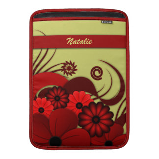 Hibiscus Floral Red 13 Inch Macbook Air Sleeve - V