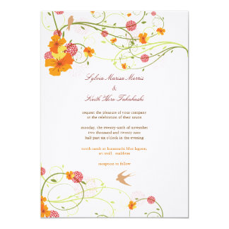 Hibiscus Florals & Swallows Summer Wedding Invite