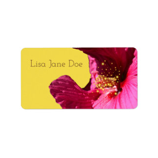 Hibiscus Flower Colorful Labels