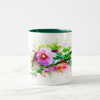 Hibiscus Flower, Hibiskus flower, Watercolor Two-Tone Coffee Mug