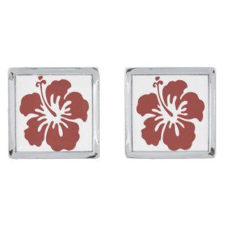 Hibiscus Flower Men's Cufflinks Silver Finish Cuff Links
