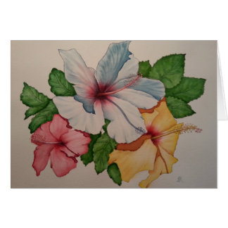Hibiscus flower painting greeting card
