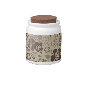 Hibiscus Flower Pattern Glass Candy Jar