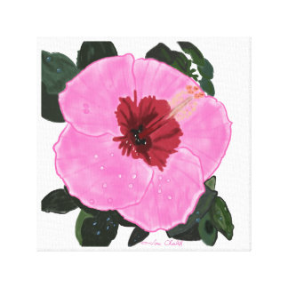 Hibiscus flower pillow canvas print