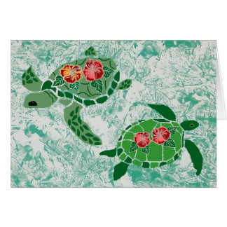 Hibiscus flower sea turtle  blank cards