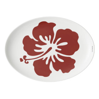Hibiscus Flower Tropical Pattern Platter