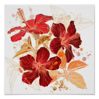Hibiscus flower - watercolor paint poster