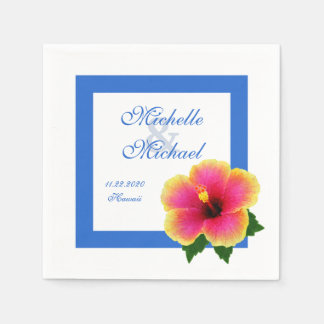 Hibiscus Flower Wedding Event Blue Paper Serviettes