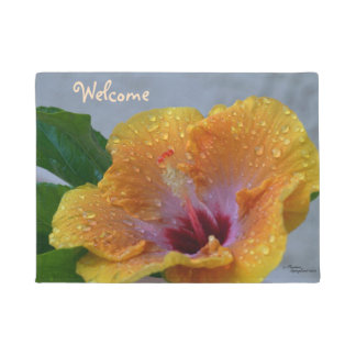 Hibiscus flower Welcome Doormat