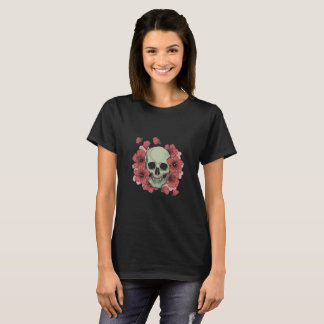 Hibiscus Flowers and Skull T-Shirt