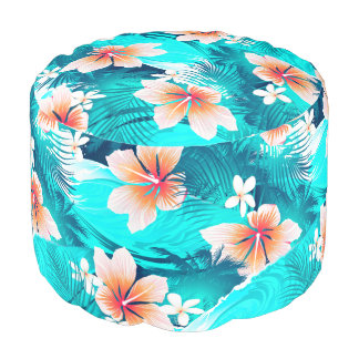Hibiscus flowers at the beach pouf