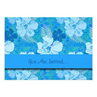 Hibiscus Flowers Blue Batik Invitation