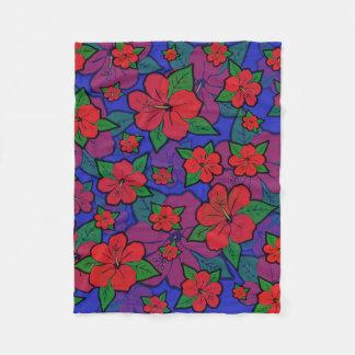 Hibiscus Flowers Blue Fleece Blanket
