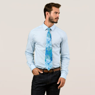 Hibiscus Flowers Blue Tie