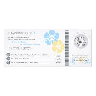 Hibiscus Flowers Boarding Pass Wedding 10 Cm X 24 Cm Invitation Card