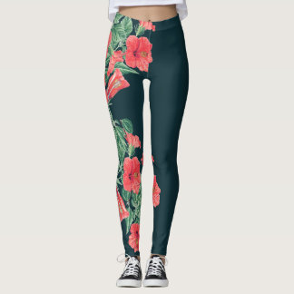 Hibiscus Flowers Floral All Over Print Leggings
