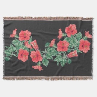 Hibiscus Flowers Floral Collage Throw Blanket